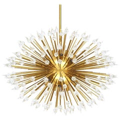 Sputnik Teardrop Shape Murano Glass and Brass Italian Chandelier