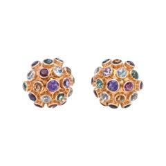 Sputnik Vintage Gemstone Dome Cocktail Earrings 18 Karat Gold Estate Jewelry