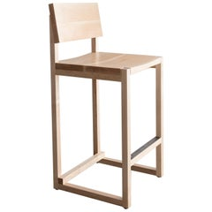 SQ Counter Stool, Maple Hardwood, Hand-Oiled Steel Kick Plate