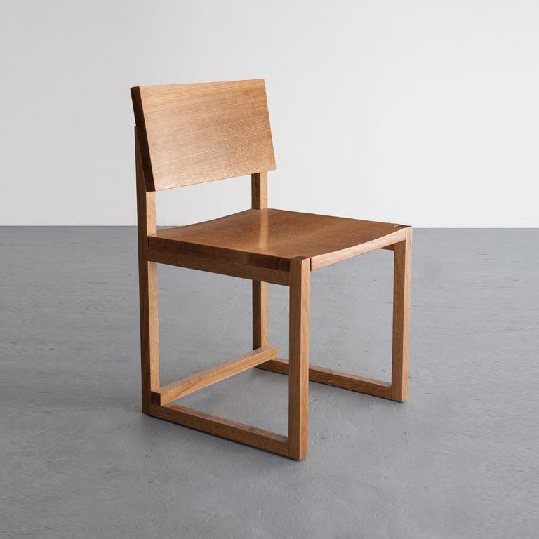 Hand-Crafted SQ Dining Chair, Maple Hardwood Side Chair For Sale