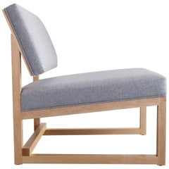 SQ Lounge Chair in Maple, Blue Wool Upholstery, Handmade in USA