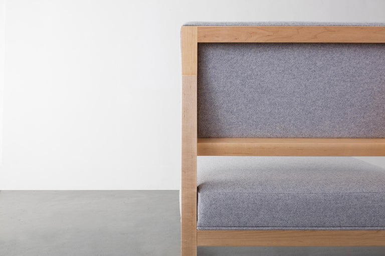 Hand-Crafted SQ Lounge Chair in maple, upholstery in felt, bouclé or COM,  Handmade in USA For Sale