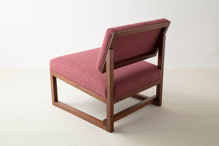American SQ Lounge Chair in Solid Walnut and Maharam Wool Upholstery, Handmade in USA For Sale
