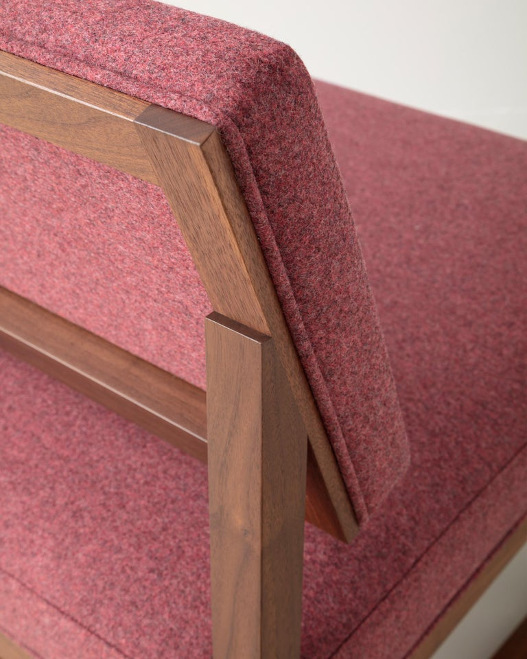 Hand-Crafted SQ Lounge Chair in Solid Walnut and Maharam Wool Upholstery, Handmade in USA For Sale
