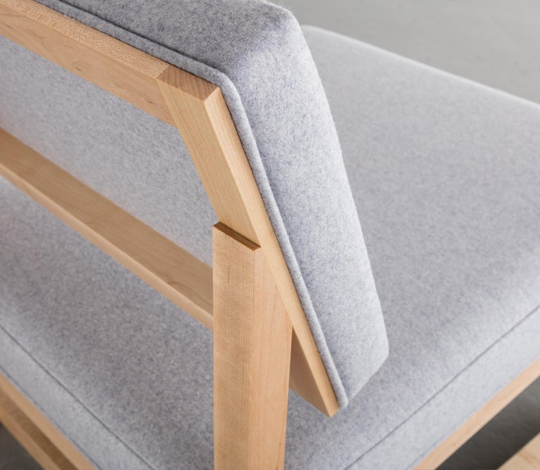 SQ Lounge Chair in Solid Walnut and Maharam Wool Upholstery, Handmade in USA For Sale 1