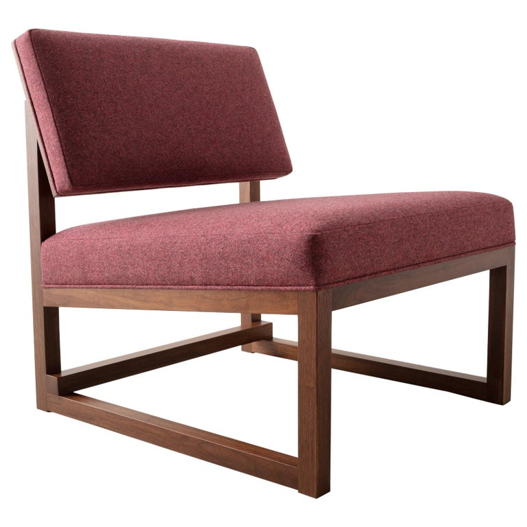 SQ Lounge Chair in Solid Walnut and Maharam Wool Upholstery, Handmade in USA For Sale