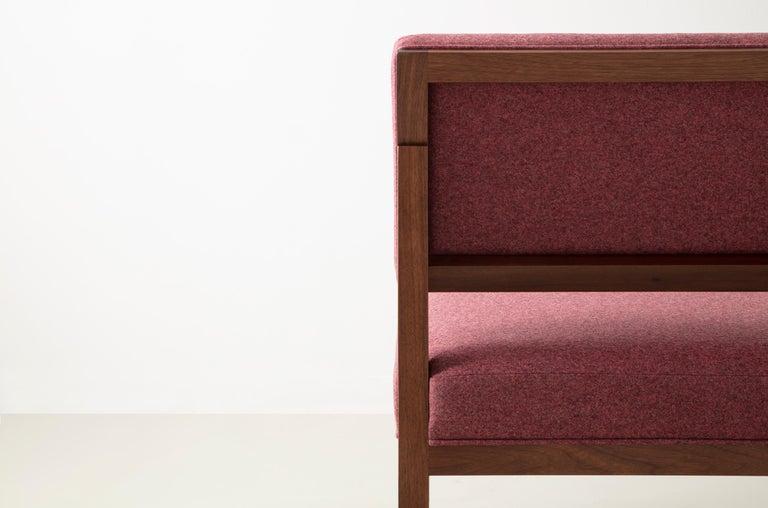 SQ Lounge Chair, White Oak, Hardwood Frame, Blue Wool Upholstery For Sale 4