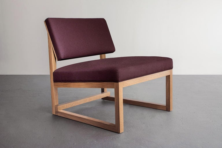 American SQ Lounge Chair, White Oak, Hardwood Frame, Blue Wool Upholstery For Sale