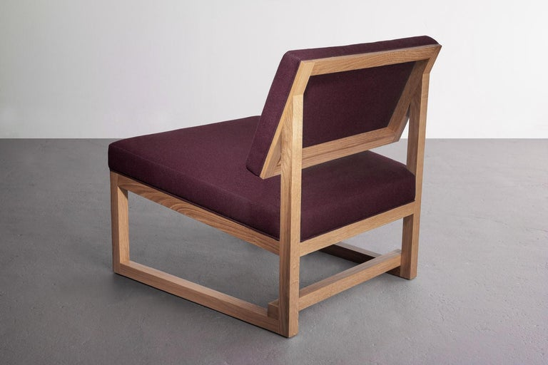 Hand-Crafted SQ Lounge Chair, White Oak, Hardwood Frame, Blue Wool Upholstery For Sale