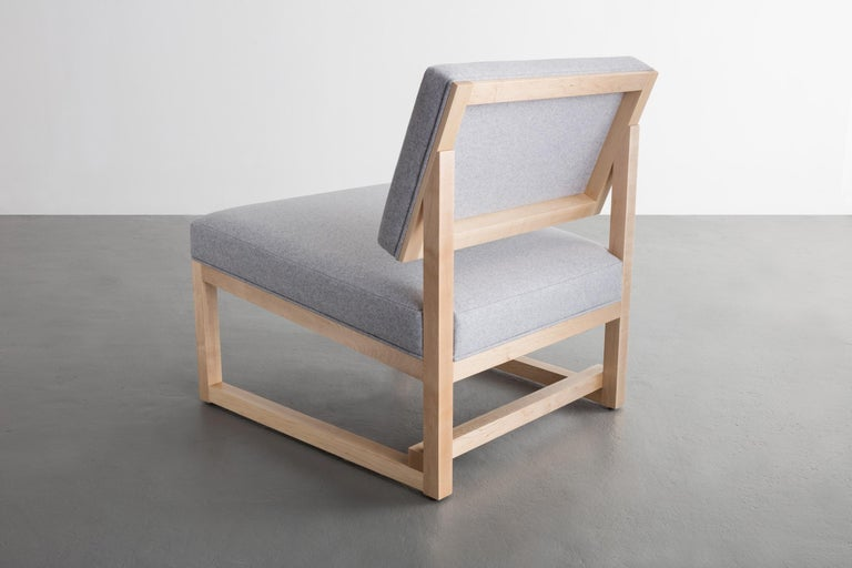 Contemporary SQ Lounge Chair, White Oak, Hardwood Frame, Blue Wool Upholstery For Sale