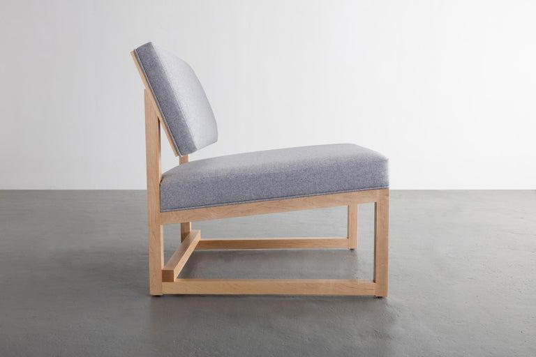 Steel SQ Lounge Chair, White Oak, Hardwood Frame, Blue Wool Upholstery For Sale