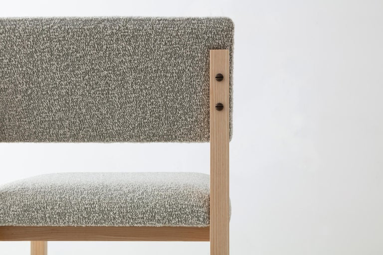 SQ Upholstered Bar Stool, Solid Wood and Stainless, Boucle Wool, Handmade in USA For Sale 4