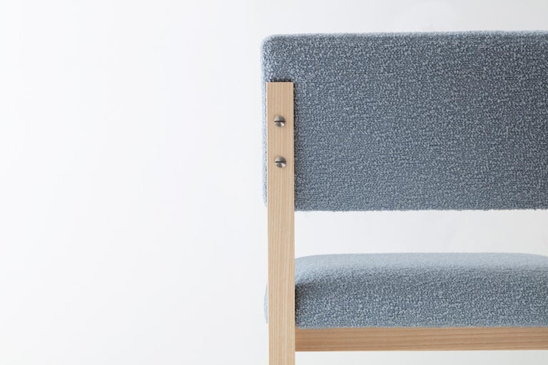 SQ Upholstered Bar Stool, Solid Wood and Stainless, Boucle Wool, Handmade in USA In New Condition For Sale In Brooklyn, NY