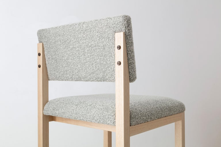 SQ Upholstered Bar Stool, Solid Wood and Stainless, Boucle Wool, Handmade in USA For Sale 3