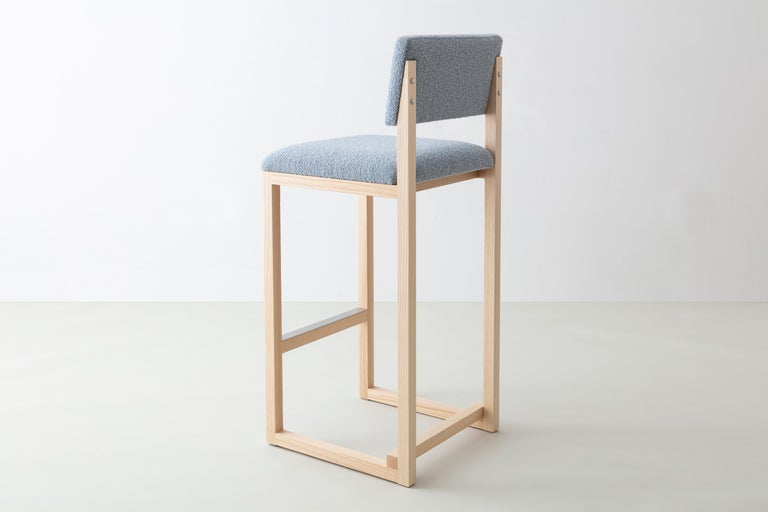 Modern SQ Upholstered Bar Stool, Solid Wood and Stainless, Boucle Wool, Handmade in USA For Sale