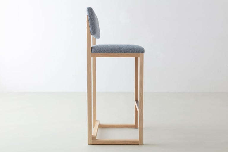 American SQ Upholstered Bar Stool, Solid Wood and Stainless, Boucle Wool, Handmade in USA For Sale