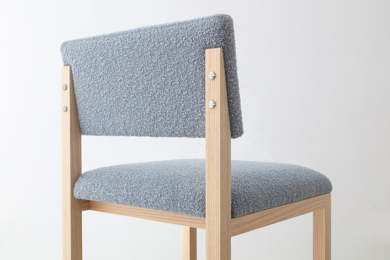 Hand-Crafted SQ Upholstered Bar Stool, Solid Wood and Stainless, Boucle Wool, Handmade in USA For Sale
