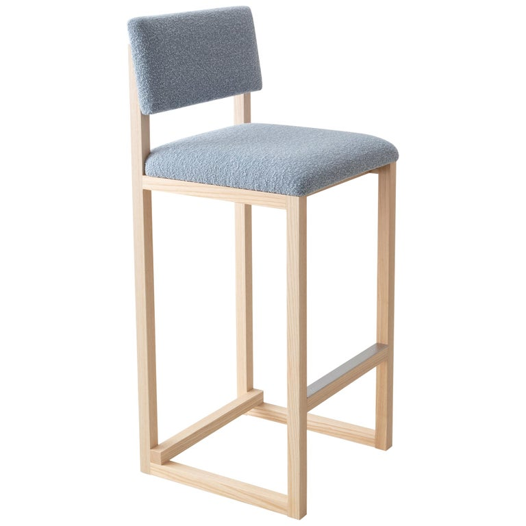SQ Upholstered Bar Stool, Solid Wood and Stainless, Boucle Wool, Handmade in USA For Sale