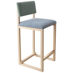 SQ Upholstered Counter Stool, Sky and Sea Boucle, Brass Details, Handmade in USA