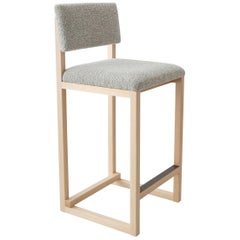 SQ Upholstered Counter Stool, Solid Wood and Brass, Boucle Wool, Handmade in USA