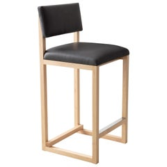 SQ Upholstered Counter Stool, Solid Wood, Leather, and Stainless Handmade in USA