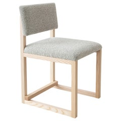 SQ Upholstered Dining Chair, Solid Wood, Brass, Bouclé Wool, Handmade in USA