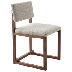 SQ Upholstered Dining Chair, Walnut, Brass, Bouclé Wool, Handmade in USA