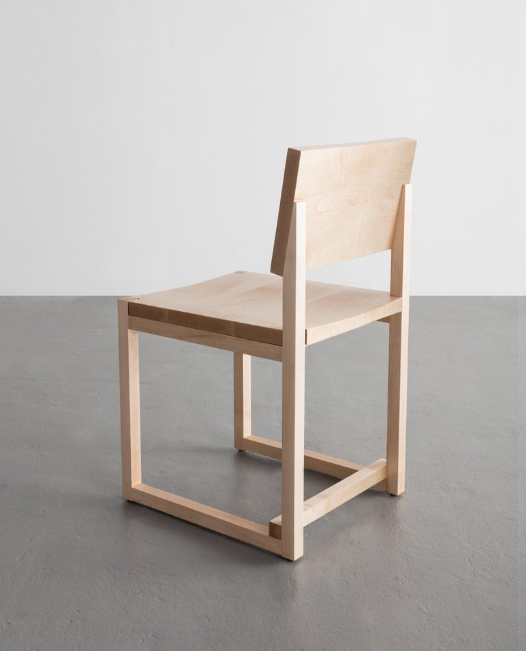 SQ Dining Chair, White Oak Hardwood Side Chair In New Condition For Sale In Brooklyn, NY