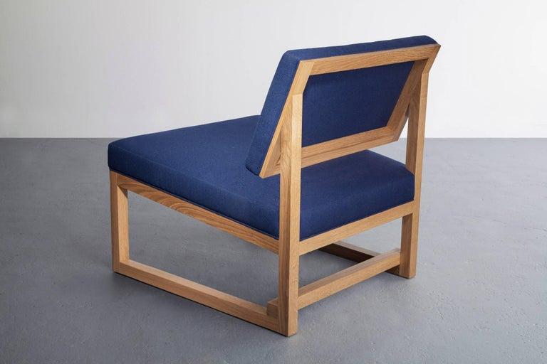 Modern SQ Lounge Chair, White Oak, Hardwood Frame, Blue Wool Upholstery For Sale