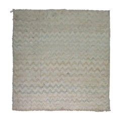 Square Persian Shag Rug in Ivory Pale Blue