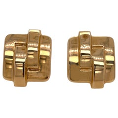 Square 14 Karat Yellow Gold Light Weight Vintage Earrings Lever Back