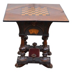 Square 19th Century English Folding Game Table