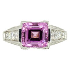 Square 2.50 Carat Pink Spinel Diamond Platinum Ring by Rock N Gold Creations