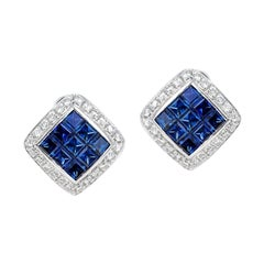 Square 3 Ct. Sapphire and Diamonds 0.60 Carats 18K White Gold Earrings