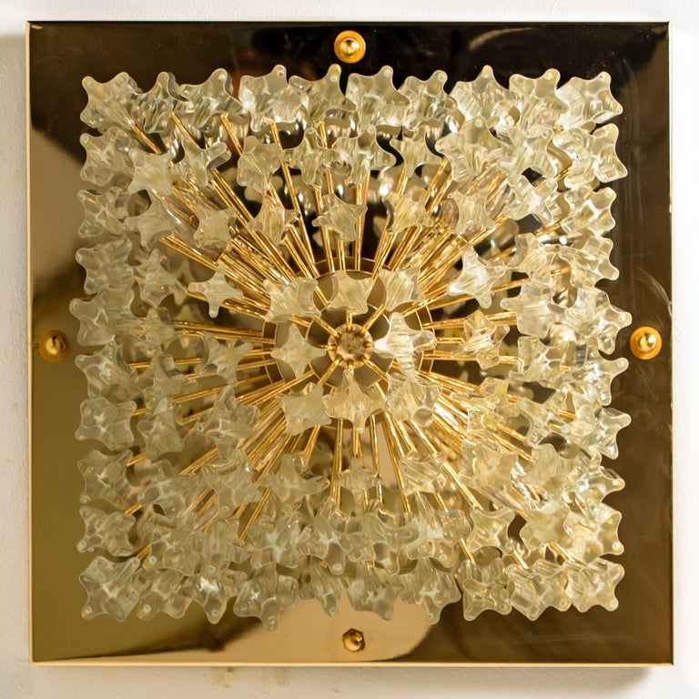 Square 4-Tiers Venini Gilt-Plated Flushmount, Italy For Sale 5