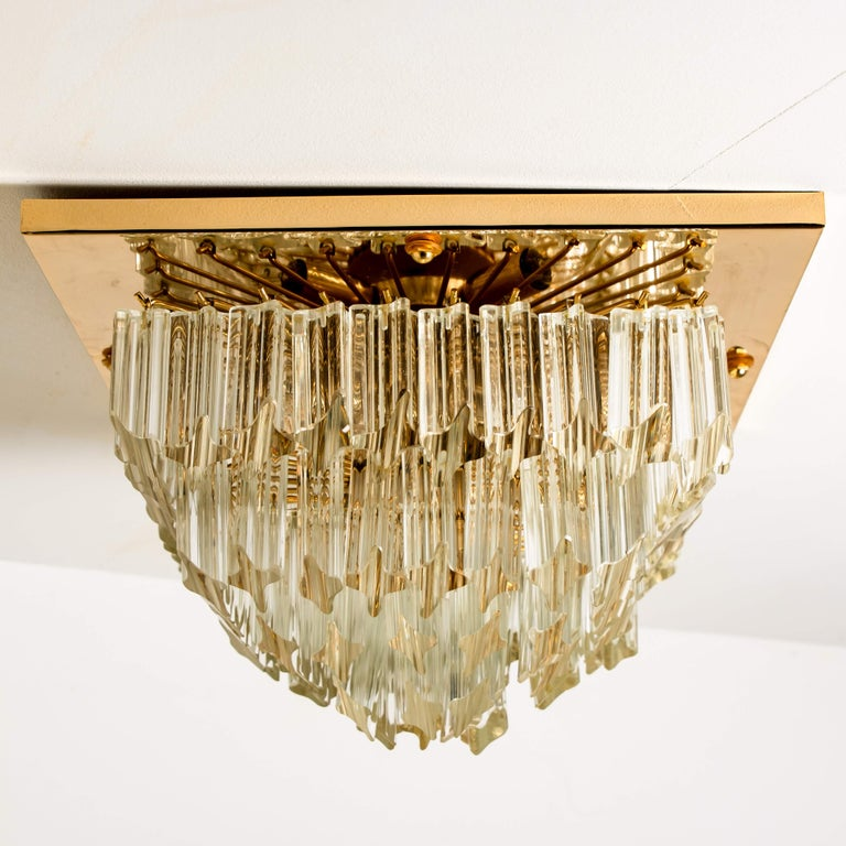 Square 4-Tiers Venini Gilt-Plated Flushmount, Italy For Sale 6