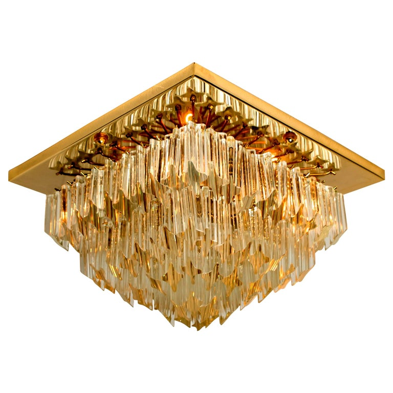 Square 4-Tiers Venini Gilt-Plated Flushmount, Italy For Sale