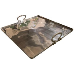 Square Aluminum Large Tray with Handles, Italy, Contemporary