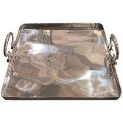 Square Aluminum Small Tray with Handles, Italy, Contemporary