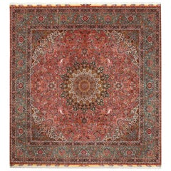 Square Animal Motif Vintage Tabriz Persian Rug. Size: 13 ft 8 in x 14 ft 6 in