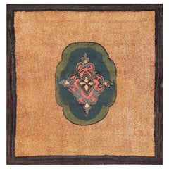 Square Antique American Hooked Rug. Size: 7 ft x 7 ft 2 in (2.13 m x 2.18 m)