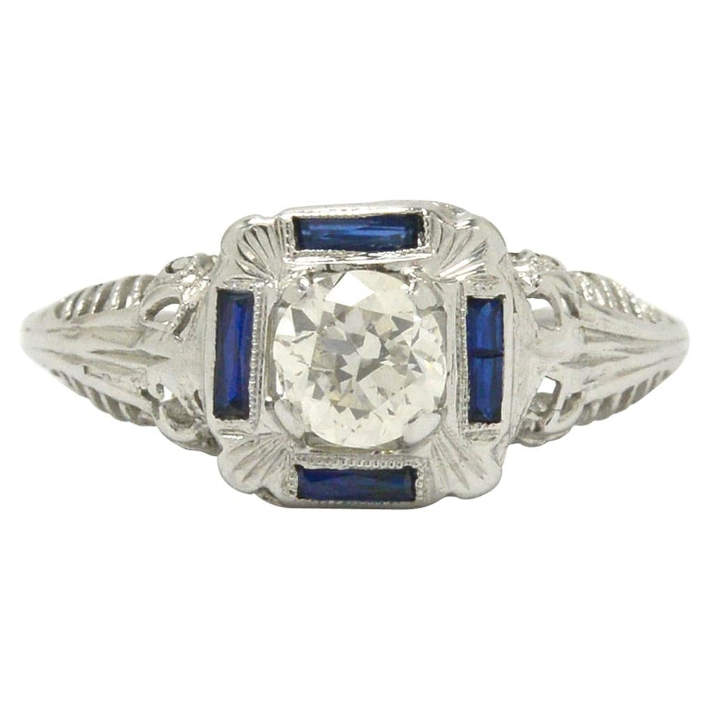 Square Antique Art Deco Diamond Engagement Ring 1/2 Carat Filigree 4 Sapphires