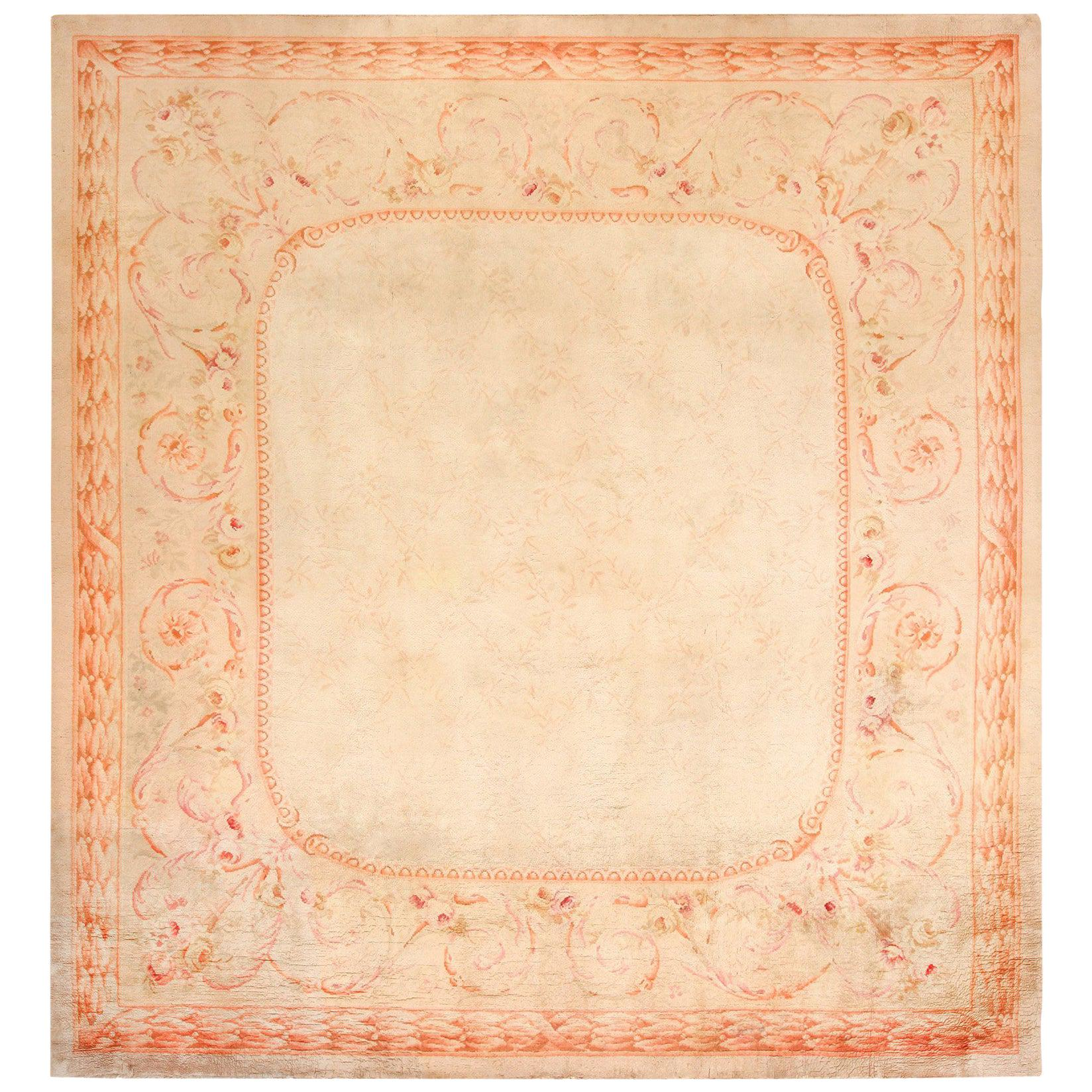 Square Antique French Savonnerie Rug. Size: 11 ft 10 in x 12 ft 8 in