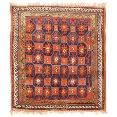 Square Antique Kurdish Style Rug of Persian Origin with Red and Navy Medallions