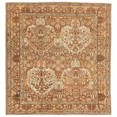 Square Antique Persian Bakhtiar Rug with Botanical Details in Brown and White
