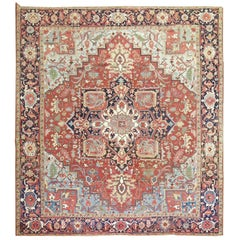Square Antique Persian Heriz Serapi Red Blue Rug