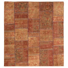 Square Antique Persian Patch Kilim Rug with Floral Details on Red & Orange Field
