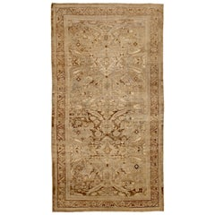 Square Antique Persian Sultanabad Rug with Floral Details on Brown Field