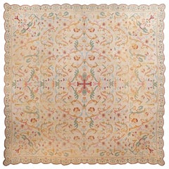 Square Antique Portuguese Needlepoint Rug. Size: 11 ft 6 in x 11 ft 8 in