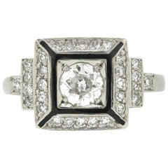 Square Art Deco Engagement Ring Black Enamel Certified Old European Diamond Halo